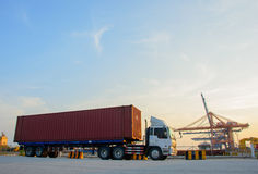 Truck carries container. In bangkok Royalty Free Stock Photo