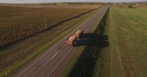 The truck carries a harvest on the road stock footage