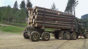 Truck carries logs stock video footage