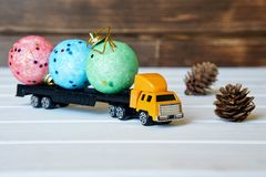 The truck carries magic toys for the children`s New Year party stock photos