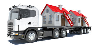 Truck carries two houses Stock Photo