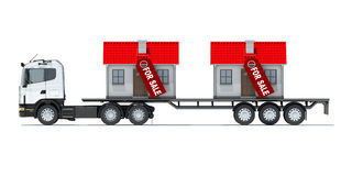 Truck carries two houses Royalty Free Stock Images