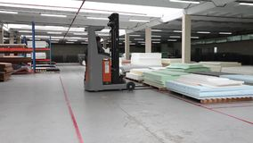 Truck carry the goods, warehouse billets, wire, truck, shipping, electric, indoor, Industrial interior
