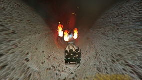Truck carrying wood crosses asphalt. Cavesmoke and fire stock video