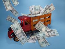 Truck with cash. Stock Photography
