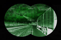 Truck chase - view from nightvision Royalty Free Stock Images