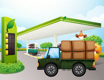 A truck with chickens near the gasoline station Royalty Free Stock Photo