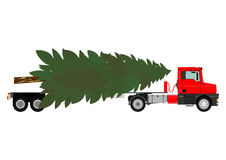 Truck with christmas tree Stock Images