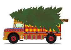 Truck with christmas tree Royalty Free Stock Photo