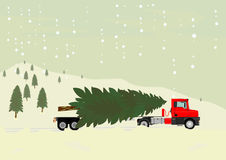 Truck with christmas tree Royalty Free Stock Photos