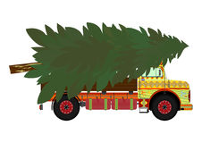Truck with christmas tree Stock Photo