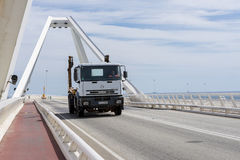 Truck circulating for a bridge Stock Photos