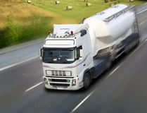 Truck cistern in motion on road Stock Photo