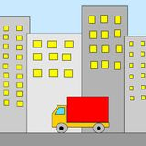 Truck in city. An illustration of a truck and a city Vector Illustration