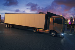 Truck on city background. Side view of truck with empty trailer on city and cloudy sky background. Mock up, 3D Rendering Stock Images