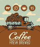 Truck with coffee. Banner with retro truck and coffee beans Royalty Free Stock Photography