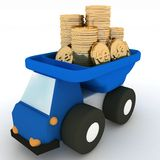 Truck with coins Stock Images