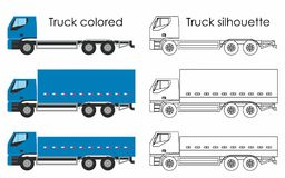 Truck colored and multiple views. Machine for transporting liquid cargo royalty free illustration