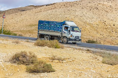The truck coming down the mountain road. Jordan. Royalty Free Stock Image