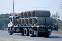 Truck for Concrete Pipe of Piboon Concrete. Stock Photos