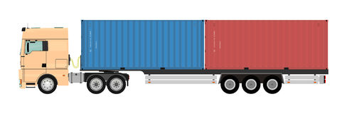 Truck with container. Stock Photo