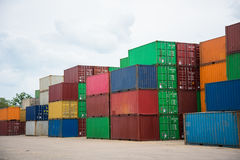 Truck and container. The containers yard in thailand royalty free stock photos