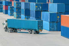 Truck in container depot Royalty Free Stock Photos