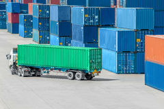 Truck in container depot Stock Photo
