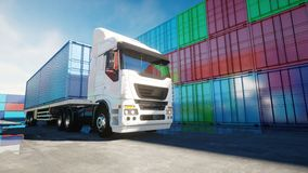 Truck in container depot, wharehouse, seaport. Cargo containers. Logistic and business concept. 3d rendering. Truck in container depot, wharehouse, seaport Royalty Free Stock Images