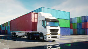 Truck in container depot, wharehouse, seaport. Cargo containers. Logistic and business concept. Realistic 4k animation. stock video
