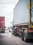 Truck with container on the road Royalty Free Stock Photos