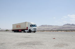 Truck. Container truck on the road, Qom-Tehran freeway Royalty Free Stock Images