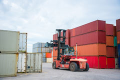 Truck and containers. The containers yard in thailand stock images