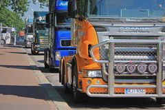 Truck Convoy Protest in Helsinki, Finland Royalty Free Stock Photos