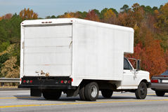 Truck. With copy space on the side. commercial moving storage freight  is stuck in traffic Stock Photos