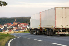 Truck a country road Stock Photo