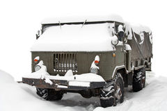 Truck covered with snow Stock Photos