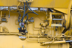 Truck crane. The internal structure of the  crane Stock Photo