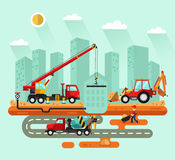 Truck crane, bulldozer, concrete mixer Stock Photo