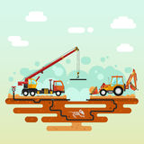Truck crane and bulldozer laying of the pipes. Vector flat style illustration of construction process. Truck crane and bulldozer or excavator laying of the pipes Royalty Free Stock Images
