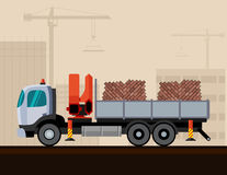 Truck crane with cargo. Truck crane with bricks cargo. Vector illustration on construction background Royalty Free Stock Photography