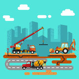 Truck crane, concrete mixer and bulldozer. Vector flat style illustration of construction process, city landscape. Truck crane and bulldozer or excavator laying Royalty Free Stock Photos
