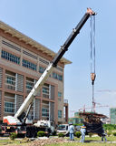 Truck crane at  construction site Royalty Free Stock Photo