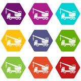 Truck crane icon set color hexahedron Stock Image