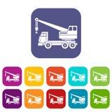 Truck crane icons set flat Royalty Free Stock Photos