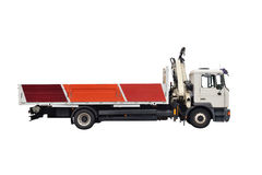 Truck with crane isolated on white background Stock Photo