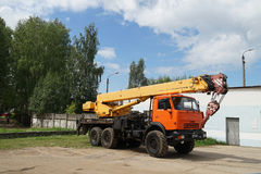 Truck crane. Crane  truck  mobile  construction  background  blue  site Royalty Free Stock Photo