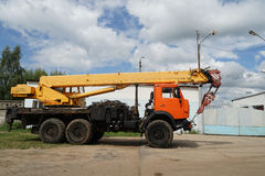 Truck crane. Crane  truck  mobile  construction  background  blue  site Stock Photos