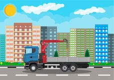Truck with crane and platform, cityscape Stock Images