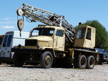 Truck crane scrapyard Royalty Free Stock Images